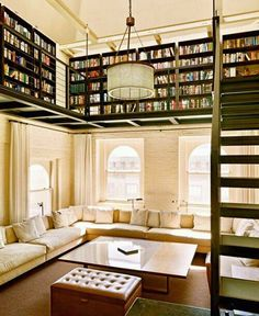 OMG!! Most unique library I've ever seen. Makes me rethink my future wall library with walls covered in books with an atrium. I can dream can't I...