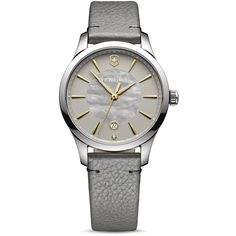 Victorinox Swiss Army Tonal Strap Watch, 44mm ($520) ❤ liked on Polyvore featuring jewelry, watches, grey, victorinox swiss army watches, sparkle jewelry, sparkly watches, grey jewelry and gray watches