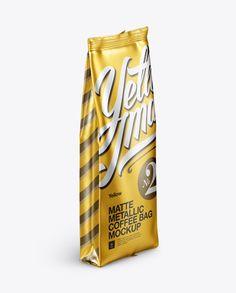 Matte Metallic Coffee Bag Mockup - Halfside View (Preview)