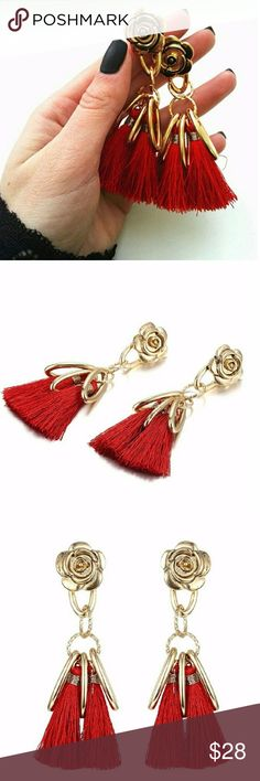 Gold tone rosettes red tassel statement earrings Wide:0.98'' / High:3.54'' / Net weight: 25g / Material: Zinc alloy, Tassel, CCB, Copper earpins Jewelry Earrings