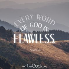 Every word of God is flawless. —Proverbs 30:5