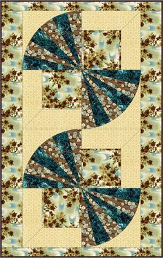 Oriental Fans Quilt Pattern BC-510 (wall hanging, table runner, advanced beginner, pieced)