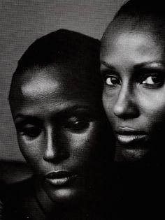 """Vogue US, June 1998, """"A World Apart"""", Models Waris Dirie & Iman, Photographer Annie Leibovitz, Stylist Camilla Nickerson"""