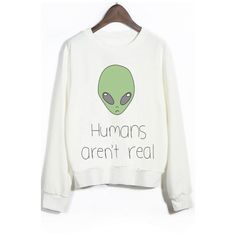 Crew Neck Long Sleeves Alien Print Graphic Sweatshirt (515 ARS) ❤ liked on Polyvore featuring tops, hoodies, sweatshirts, sweaters, blusas, t-shirts, round top, graphic sweatshirt, graphic crewneck sweatshirt and long tops