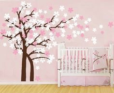 "Amazon.com: Pop Decors Drifting Flowers and Birds Tree Wall Decals for Nursery Room, 71"": Home Improvement"
