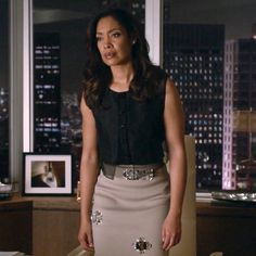 Sleeveless black shirt & embellished tan pencil skirt. Suits, Jessica Pearson, outfit