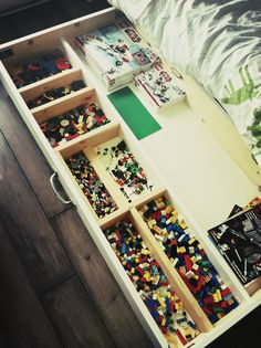 "Lego drawer: ""I LOVE playing Lego with my Kids… but having to dig through a huge bucket to find what I need was driving me nuts. So I built a Lego storage unit on casters to roll under their bed."" http://danielsicoloblog.com"