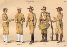 Brazil in the First World War - O Brasil na Primeira Guerra Mundial  ESTAMPA N. 195 TIROS DE GUERRA - 1910: a) Tiro da Tijuca; b) Forriel do Tiro de Juiz de Fora;  c) Tiro do Maranhão; d) Tambor do Tiro de Santos;  e) Tiro de Friburgo.