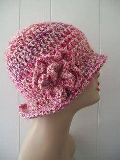 HANDMADE CROCHET CLOCHE  FLAPPER  STYLE HAT HOMESPUN CHERRY BLOSSOM W/ FLOWER #Handmade #Cloche