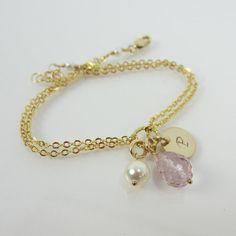 Personalized Pink Amethyst Bracelet, Initial Pink Amethyst Bracelet, Bridesmaids Gift Bracelet, Birthstone Bracelet, bridal party bracelet
