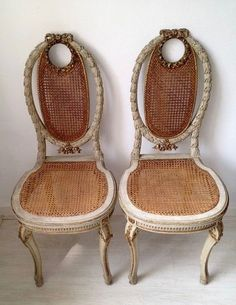A pair of Napoleon III white painted and parcel gilt caned side chairs - France - circa 1880 Old Chairs, Antique Chairs, Outdoor Chairs, Dining Chairs, Cane Furniture, Furniture Upholstery, Antique Furniture Restoration, Eclectic Chairs, Beautiful Sofas