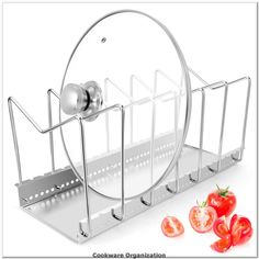 Stainless Steel Dish Rack Kitchen Pot Pan Lid Cutting Board Adjustable Organizer Holder with Drain Tray for Cabinet and Pantry Storage Organization, 6 Compartments*** You can get additional details at the image link.(It is Amazon affiliate link) #cookwareorganization
