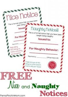 "These naughty and nice notices pair perfectly with your Elf on the Shelf - or are great to have ""show up"" when your kids have acted up or done something extra sweet this holiday!!! Best of all, these are FREE for you to download!!!"