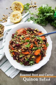 Roasted Beet and Carrot Quinoa Salad / This delicious whole grain and gluten free salad has sweet caramelized roasted vegetables and toasted nuts for a great crunch!