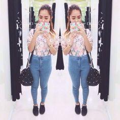 "@idaandu's photo: ""#ootd. Floral sweater again ++ my fave Joni jeans """