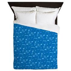 Blue Notes Queen Duvet $158.54 #cafepress #saytoons