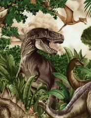 Dinos by Michael Searle, T-Rex, Other Dinosaurs, Timeless Treasures (By Half Yard)
