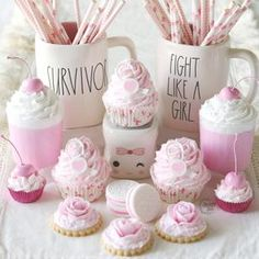 Sundae Cupcakes, Fake Cupcakes, Fake Cake, Cupcake Collection, Pink Cookies, Pink Frosting, Strawberry Desserts, Fake Food, Paper Straws