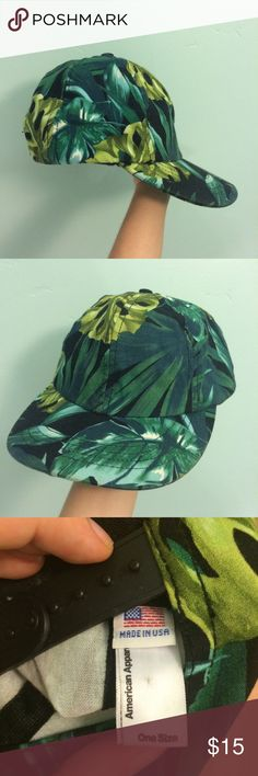 American Apparel Jungle Leaves Snapback cap This is a classic snapback from American Apparel in their classic Jungle Leaves print. On the smaller side. Really cute, EUC, worn a few times. Adjustable back. American Apparel Accessories Hats