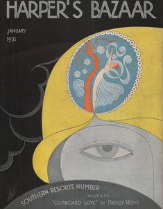 Harper's Bazaar Magazine Cover (only) January, Erte (Romain de Tirtoff) Vogue Magazine Covers, Fashion Magazine Cover, Books Art, Art Nouveau, Romain De Tirtoff, Harpers Bazaar, Art Deco Fashion, 1930s Fashion, Posters