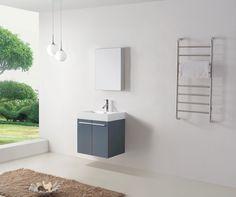 """24"""" Virtu Midori JS-50124-GR Single Sink Bathroom Vanity -  Grey #Virtu #HomeRemodel #BathroomRemodel #BlondyBathHome #BathroomVanity"""