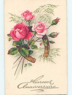 Pre-Linen foreign LUCKY HORSESHOE WITH BEAUTIFUL PINK ROSE FLOWERS HL7907