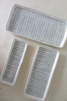 Small Herringbone Nesting Tray in Black and White by ebenotti