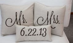 Mrs. and Mr. Pillows with marriage date