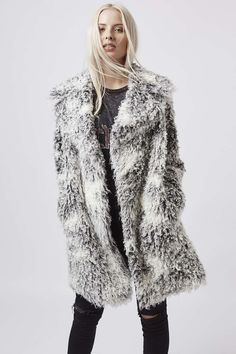 Photo 2 of Curly Faux Fur Double Breasted Coat