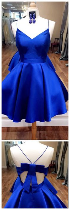 Royal Blue Homecoming Dress,Open Back Prom Dresses Short,Bow Dress,Short Cocktail Dresses