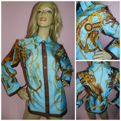 Vintage 1970s Blue/Multicoloured SCARF Baroque Chain ROPE Buckle Print shirt blouse 18 L Dagger collar 60s 70s by HoneychildLoves on Etsy