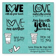 Love From Me Digital Set by Verve Stamps. Available as a free printable download through February 14, 2016. Share a little love with the world and link up your creations using the set to the Verve Stamps blog for a chance to win a gift voucher. #vervestamps