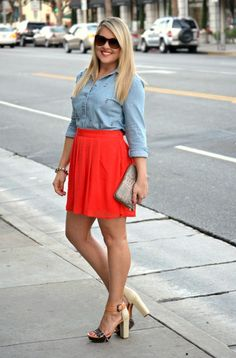 A casual date night outfit: embellished chambray top, bold colored skirt and a python print clutch via @marshalls #fabfound (via @dmcheever)
