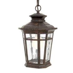 Hampton Bay, Waterton Collection 1-Light Outdoor Dark Ridge Bronze Hanging Lantern, HD491874 at The Home Depot - Mobile