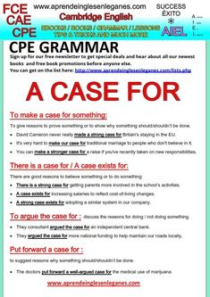 "In English , we can use different phrases with ""a case for"" to present an argument for or against something,  giving our reasons. Have a look at the grammar sheet below to learn the different phrases you can use containing ""a case for""."