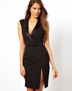 Lipsy Tuxedo Dress with Plunge Neck