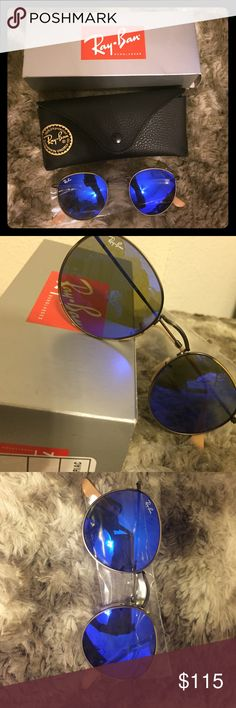 NEVER WORN! Blue Ray-ban sunglasses Brand new- still in original packaging and never been worn.  Blue circular mirrored lenses with bronze framing. Ray-Ban Accessories Sunglasses