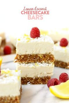 These raw Lemon Coconut Cheesecake Bars are naturally sweetened, gluten-free, vegan, paleo, and a perfectly refreshing dessert! Raw Vegan Desserts, Lemon Desserts, Vegan Cake, Paleo Dessert, Healthy Dessert Recipes, Healthy Sweets, Raw Food Recipes, Sweets Recipes, Raw Cake