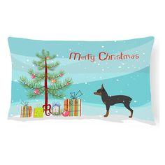 Carolines Treasures Toy Fox Terrier Merry Christmas Tree Rectangle Decorative Outdoor Pillow - BB2905PW1216