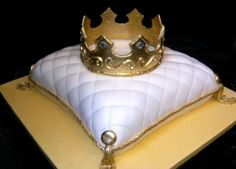 Crown on pillow groom's cake - cake carved to look like a pillow. Covered in fondant with fondant trim. Crown is made of gumpaste with royal icing embellishment and plastic jewels. Beautiful Cakes, Amazing Cakes, Pillow Cakes, Pillows, Royal Cakes, Crown Cake, Fondant Crown, Queen Cakes, Bolo Cake