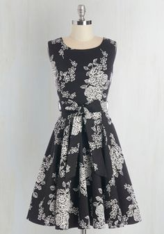 Girl Meets Twirl Dress in Noir Blossom. It was a wonderfully chance meeting that you and this black-and-white design found each other, as you were looking for the perfect dress to turn and twirl in! #black #modcloth