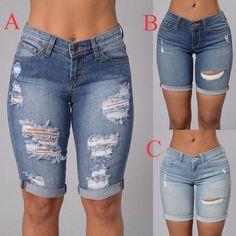 Ripped Bermuda Shorts, Bermuda Shorts Outfit, Ripped Shorts, Denim Outfit, Curvy Outfits, Cute Casual Outfits, Short Outfits, Summer Outfits, Fashion Outfits