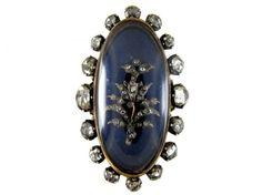 Large Georgian Blue Enamel & Rose Diamond Navette Shape Ring from the Antique Jewellery Company