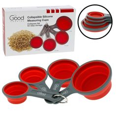 Amazon.com: Collapsible Measuring Cups - 4pc Nesting Silicone Set By Good Cooking: Kitchen & Dining