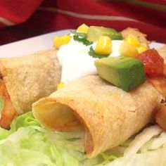 Chicken Flautas - Allrecipes.com    Made these for dinner and they were AMAZING! Only thing I changed was adding diced jalapenos and green onions to the chicken mixture and omitted the cheddar cheese all together. Served with refried beans, spanish rice, and guacomole salad. YUM!!!!