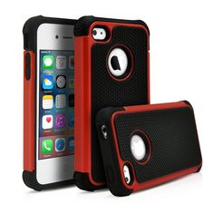 iPhone 4, 4S Case, MagicMobile Hybrid Heavy Duty Protective Case for Apple iPhone 4 & 4S Hard Pc Armor + Shock Absorbent Rugged Silicone Dual Shockproof Layer Cover - Black / Red. The Magic Mobile for Apple iPhone 4 4s Premium Defender Case provides full protection to your mobile phone. Product made with special hard plastic material. Really easy and fast to insert the phone; has perfect holes for the charger, the headphones and the camera. Product is made of high quality keeping the…