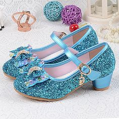 62587331b83 Girls  Shoes PU(Polyurethane) Spring   Summer Basic Pump Heels Crystal    Bowknot for Silver   Blue