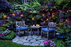 Back yard garden seating area