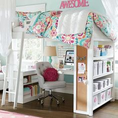 Teen Girl Bedrooms for dreamy decor - Good looking styling suggestions. Pin reference 4976106279 Categorized in teen girl bedrooms decorating ideas with lights , imagined on this moment 20190313 Bunk Bed With Desk, Bunk Beds With Stairs, Loft Beds, Desk Bed, Desk Chair, Canopy Beds, Bunk Bed Designs, Girl Bedroom Designs, Awesome Bedrooms