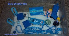 Blue Sensory Bin for kids to learn their colors by exploring objects